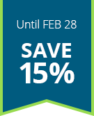 save 15% now through Feb 28